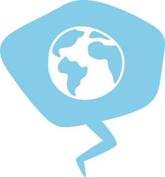 Kuvituskuva jossa on puhekupla, jonka sisällä on maapallon kuva.